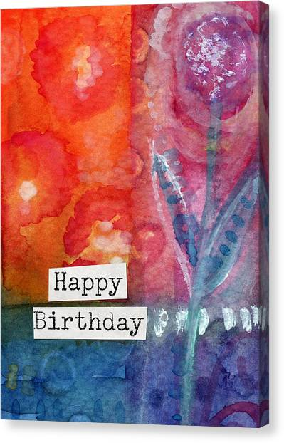 Happy Birthday Canvas Print - Happy Birthday- Watercolor Floral Card by Linda Woods