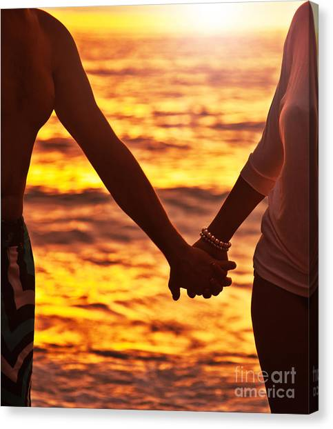 Happy Couple Holding Hands  Canvas Print by Anna Om