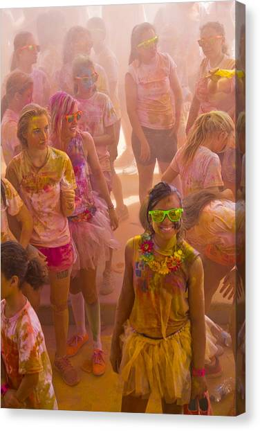 Happy Dirty Girl  Canvas Print by Debbie Cundy