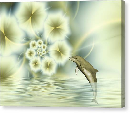 Happy Dolphin In A Surreal World Canvas Print