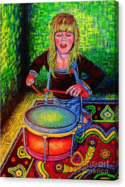 Happy Drummer Canvas Print