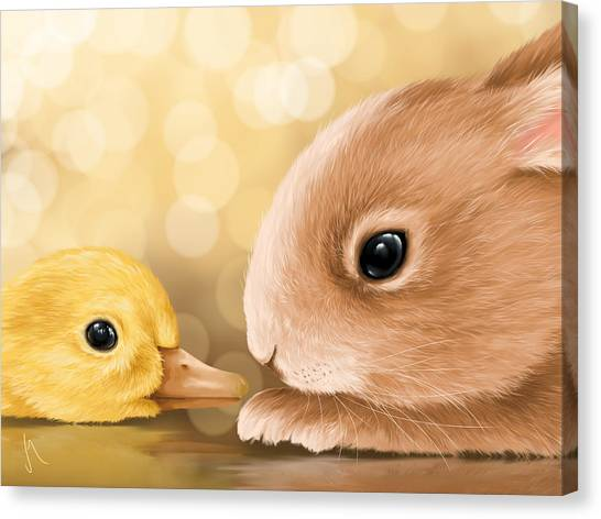 Easter Bunny Canvas Print - Happy Easter 2014 by Veronica Minozzi