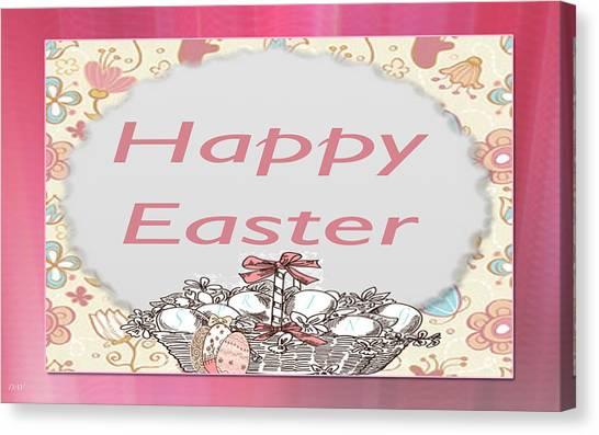 Happy Easter Basket Canvas Print by Debra     Vatalaro