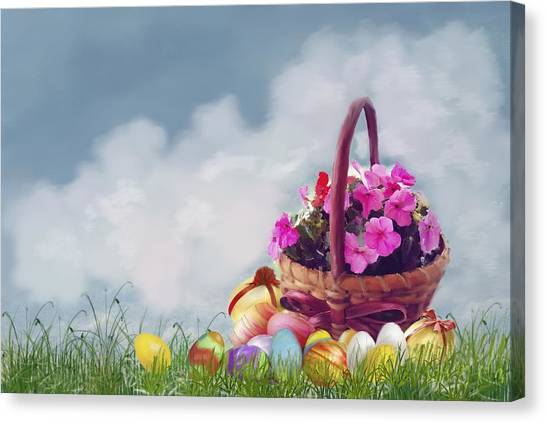 Easter Baskets Canvas Print - Happy Easter Basket by Mary Timman