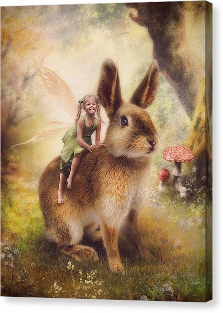 Easter Bunny Canvas Print - Happy Easter by Cindy Grundsten