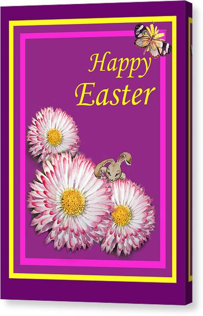 Easter Bunny Canvas Print - Happy Easter Hiding Bunny by Irina Sztukowski