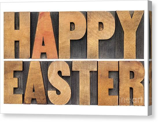 Happy Easter In Wood Type Canvas Print