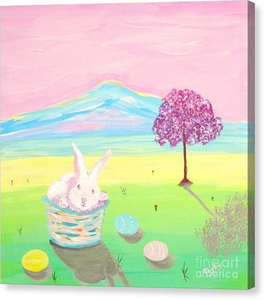 Easter Baskets Canvas Print - Happy Easter by Phyllis Kaltenbach