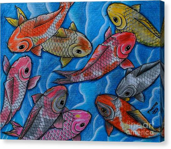 Koi Pond Canvas Print - Nine Koi Fish by Timon Timotius