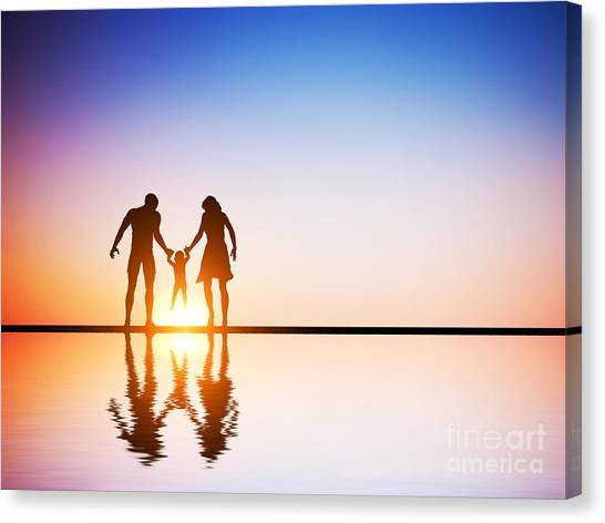 Care Bears Canvas Print - Happy Family Together Parents And Their Child At Sunset by Michal Bednarek