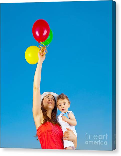 Happy Family With Air Balloons Canvas Print by Anna Om