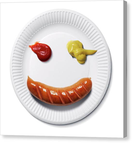 Ketchup Canvas Print - Happy Food Face by Smetek