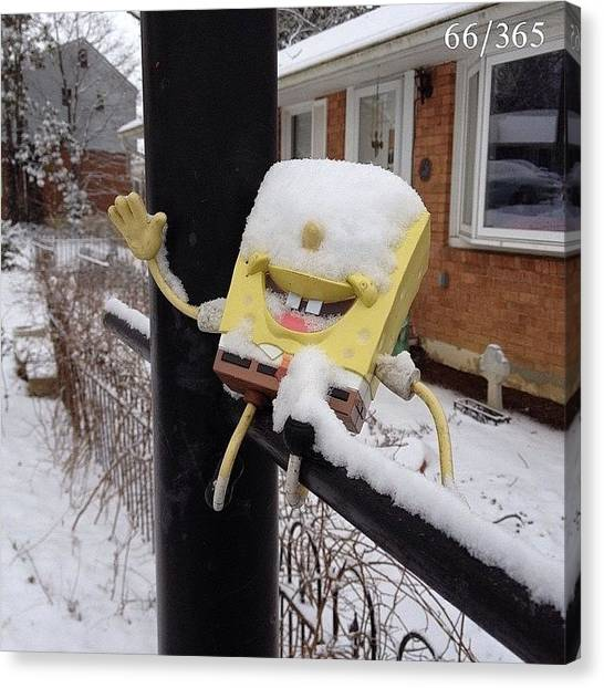 Weather Canvas Print - Happy Friday From Spongebob!  More Snow by Teresa Mucha