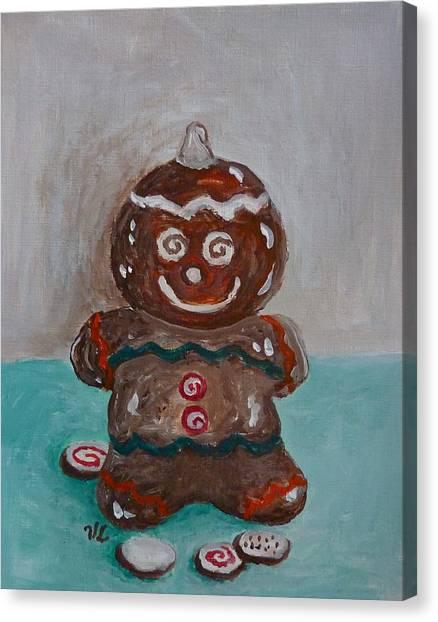 Happy Gingerbread Man Canvas Print