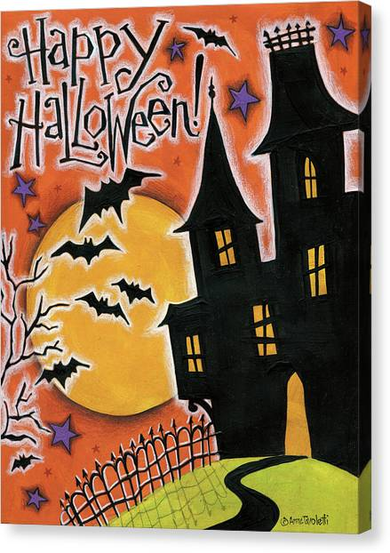 Haunted House Canvas Print - Happy Halloween by Anne Tavoletti