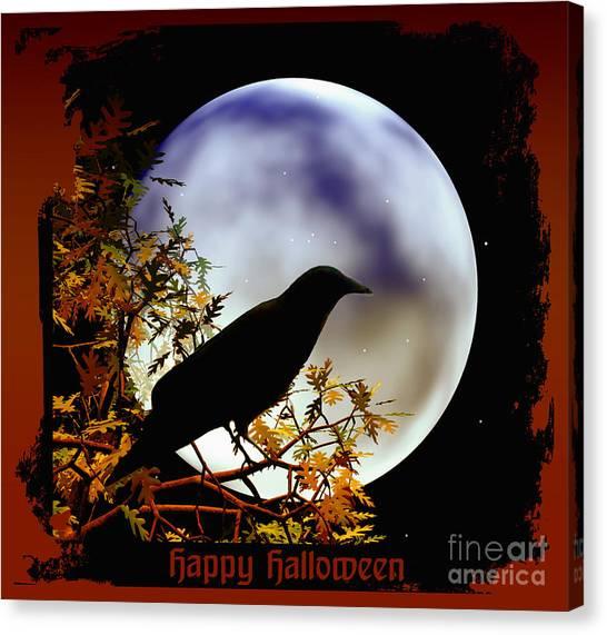 Happy Halloween Moon And Crow Canvas Print
