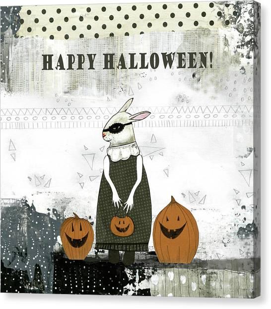 Halloween Canvas Print - Happy Halloween Rabbit by Sarah Ogren