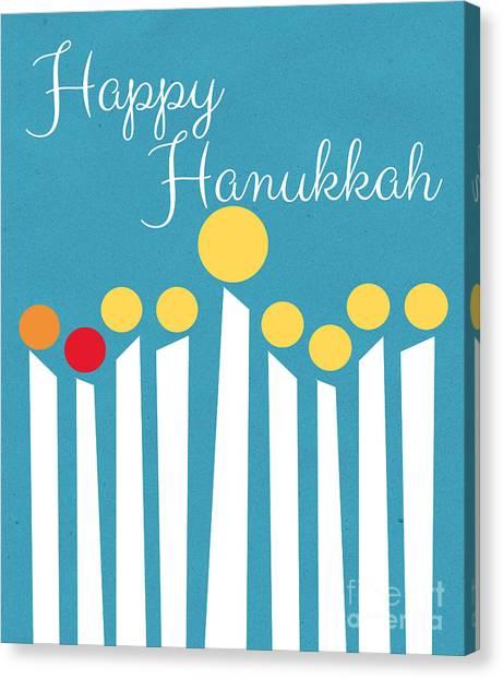Circle Canvas Print - Happy Hanukkah Menorah Card by Linda Woods