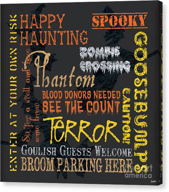 Witches Canvas Print - Happy Haunting by Debbie DeWitt