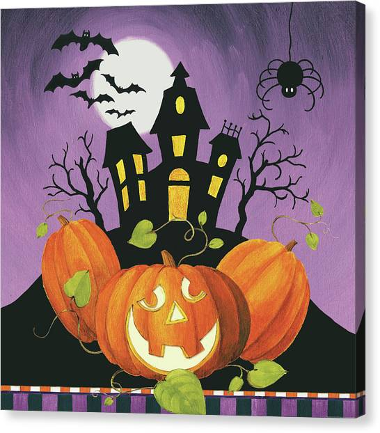 Haunted House Canvas Print - Happy Haunting House On Pumpkins by Lisa Audit