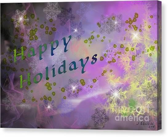 Happy Holidays Card Canvas Print by Judy Filarecki