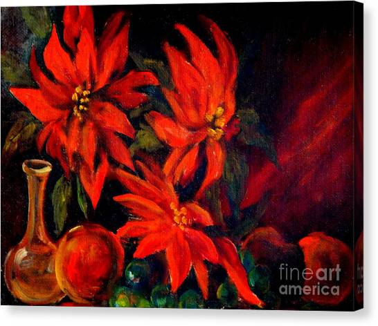 New Orleans Red Poinsettia Oil Painting Canvas Print