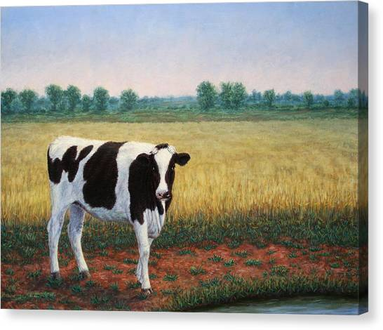 Cow Farms Canvas Print - Happy Holstein by James W Johnson
