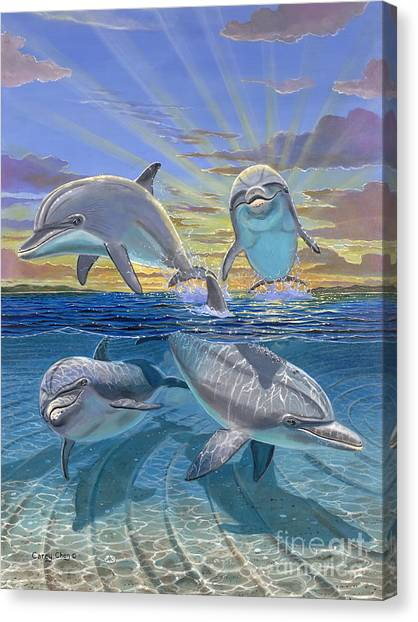 Miami Dolphins Canvas Print - Happy Hour Re003 by Carey Chen
