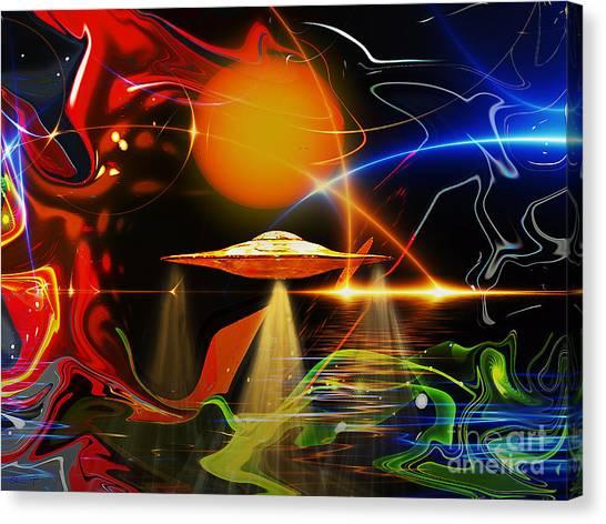 Canvas Print featuring the digital art Happy Landing by Eleni Mac Synodinos