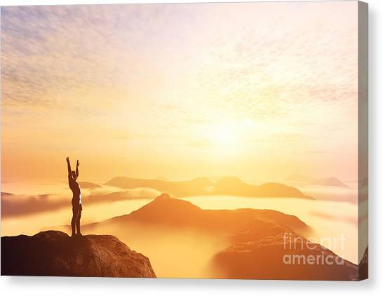 Graduation Canvas Print - Happy Man With Hands Up On The Top Of The World Above Clouds by Michal Bednarek