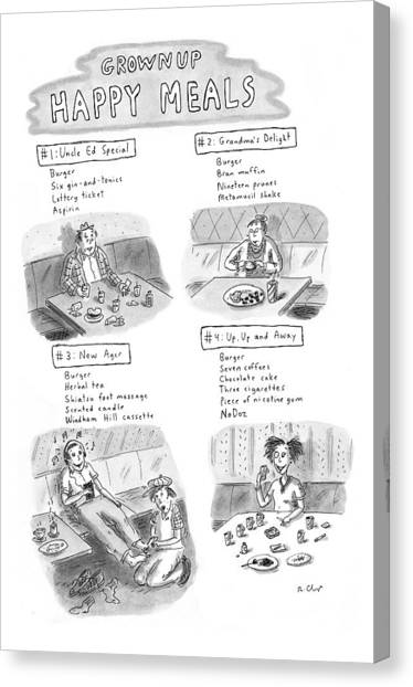 Fast Food Canvas Print - 'happy Meals For Grown Ups' by Roz Chast