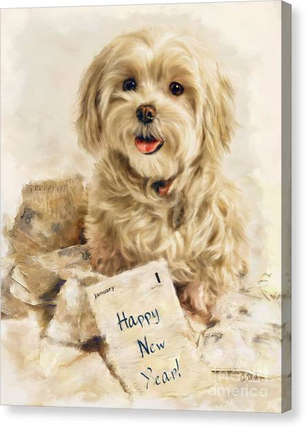 Maltese Happy New Year Canvas Print