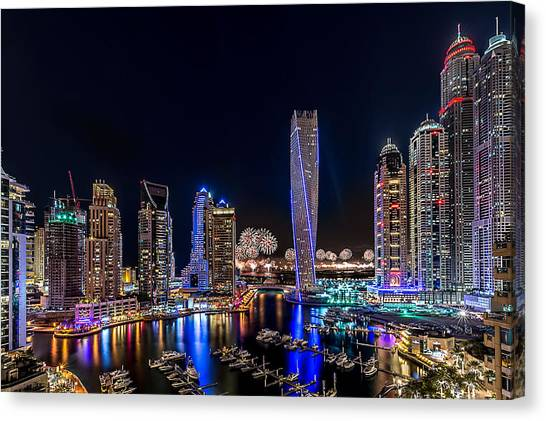 Night Lights Canvas Print - Happy New Year Dubai by Vinaya Mohan
