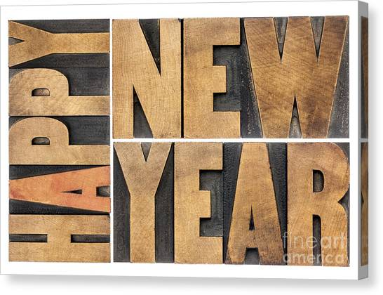 Happy New Year In Wood Type Canvas Print