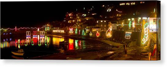 Happy New Year Mousehole Christmas Lights Canvas Print