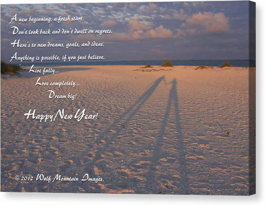 beach saying canvas print happy new year by shari jardina