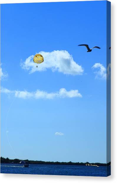 Canvas Print featuring the photograph Happy Parasailing by R B Harper