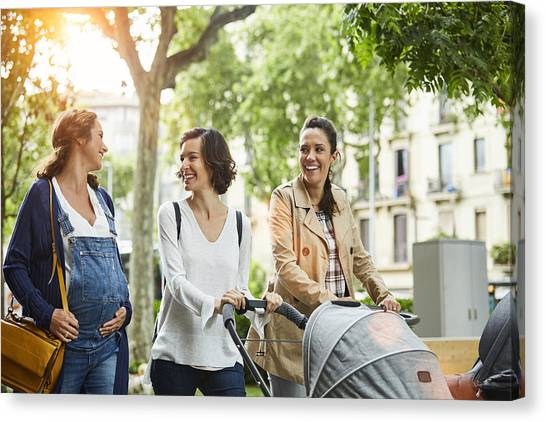 Happy Pregnant Woman With Friends In Park Canvas Print by Morsa Images