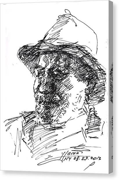 Cowboy Canvas Print - Happy Roger by Ylli Haruni