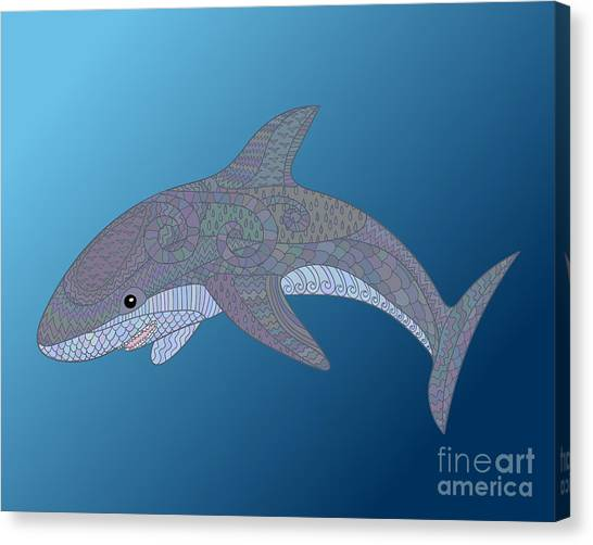Happy Canvas Print - Happy Shark With High Details. Colored by Watercolor swallow