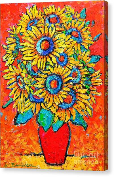 Happy Sunflowers Canvas Print