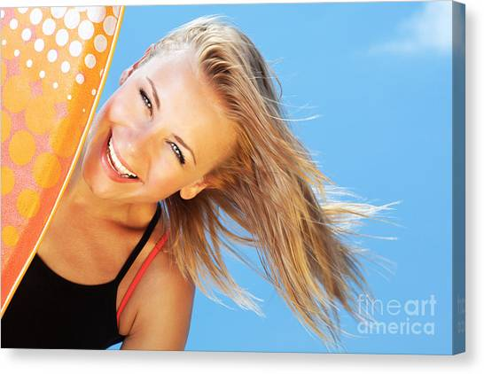 Bodyboard Canvas Print - Happy Surfer Beautiful Teen Girl by Anna Om