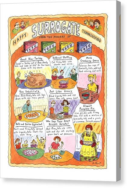 Stuffing Canvas Print - Happy Surrogate Thanksgiving by Roz Chast