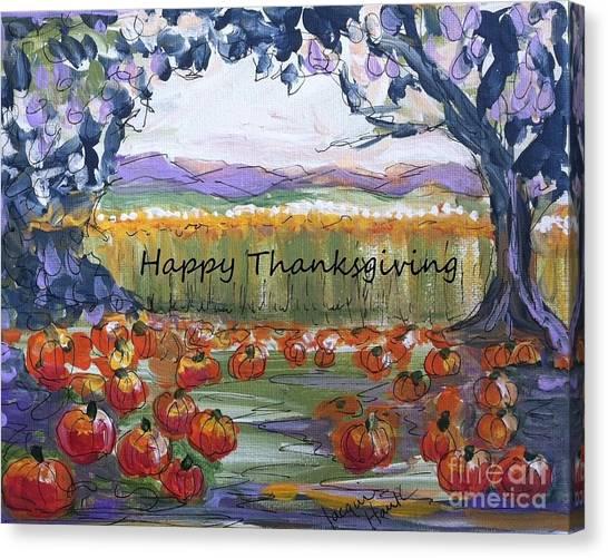 Happy Thanksgiving Greeting Card Canvas Print