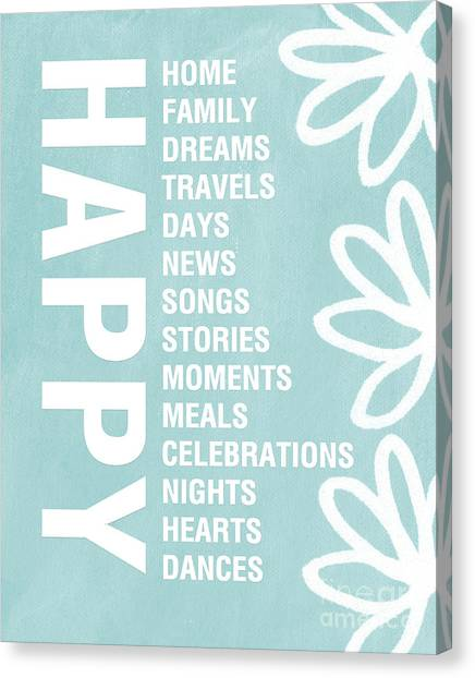 Happy Birthday Canvas Print - Happy Things Blue by Linda Woods