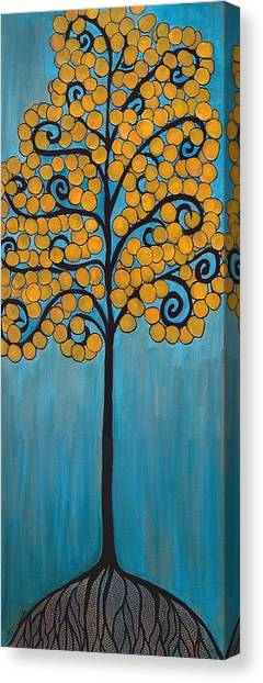Happy Tree In Blue And Gold Canvas Print