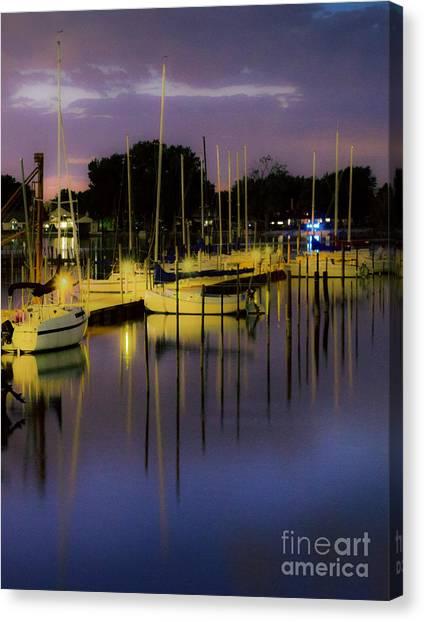 Harbor At Night Canvas Print