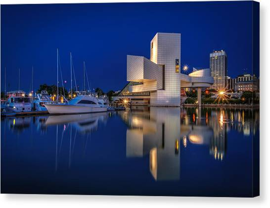Harbor In Blue Canvas Print
