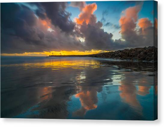 Singh Canvas Print - Harbor Jetty Reflections by Larry Marshall