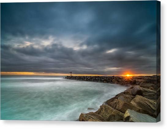 Sunsets Canvas Print - Harbor Jetty Sunset by Larry Marshall